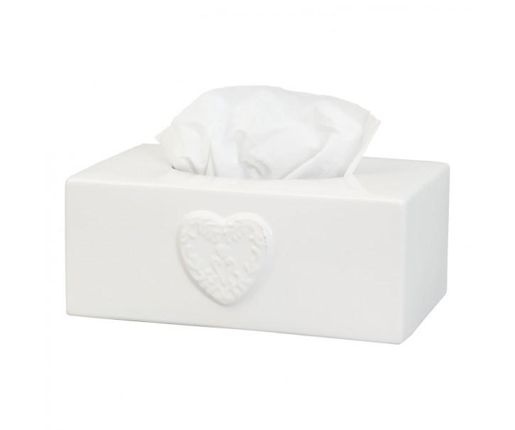 Keramický obal na papírové kapesníky s dekorem srdce - 24*14*10 cm