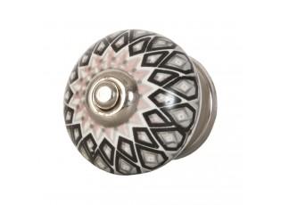 Keramická úchytka s ornamenty - Ø 4 cm