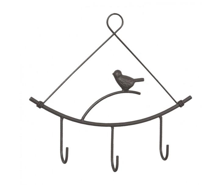 Závěsný věšák s ptáčkem tmavý - 24*3*22 cm