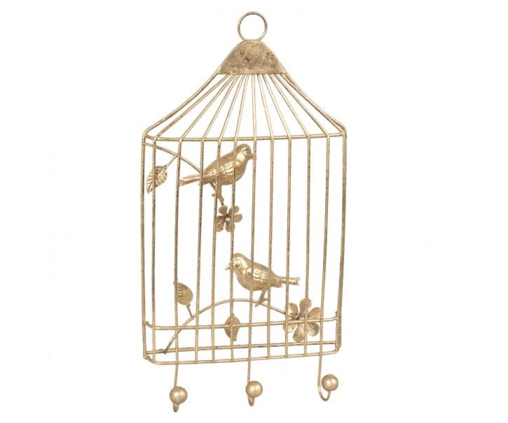 Závěsný věšák klec s ptáčky žlutá - 17*4*32 cm