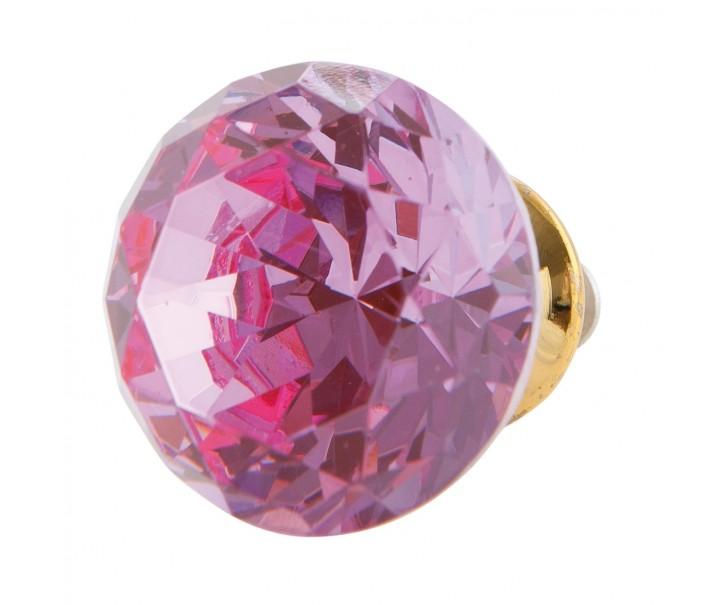 Úchytka tvar diamant růžová - pr 3 cm