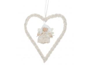 Závěsné srdíčko s  andělem bílé