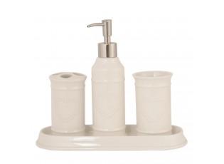 Koupelnový set se srdíčkem - Ø 6*21 cm / Ø 6*11 cm / Ø 6*11 cm / 26*10*2 cm