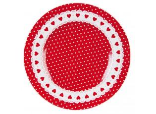 Červený dezertní talíř se srdíčky Ø 21 cm