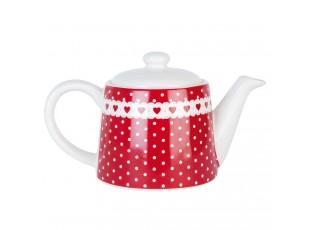 Červená čajová konvička se srdíčky 13*10*10 cm