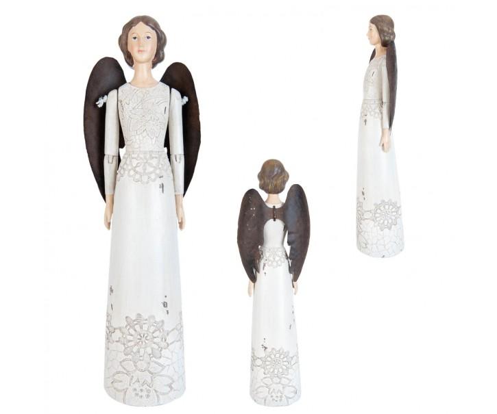 Bílý Anděl se zdobenými šaty - 6*7*30 cm