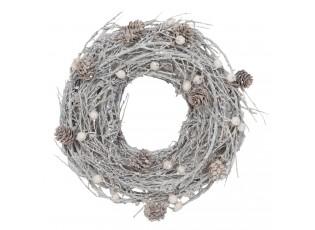 Ratanový věnec se šiškami - Ø 27 cm