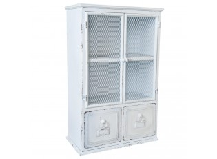Nástěnná kovová skříňka bílá patina - 39*21*61 cm