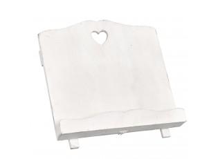 Dřevěný stojan na kuchařku bílý 33*18*29 cm