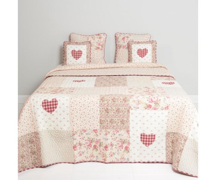 Patchwork přehoz na dvoulůžkové postele Roses Hearts - 300*260