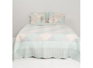 Přehoz na dvoulůžkové postele Flower mint - 230*260 cm