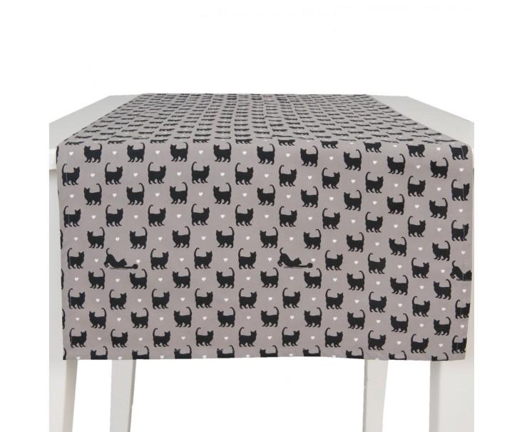 Běhoun na stůl šedý CatLovers