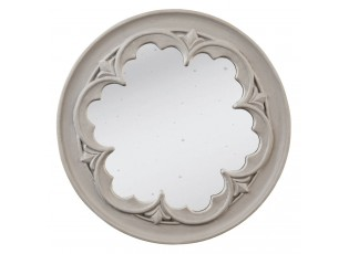 Šedé vintage zrcadlo s ornamentem