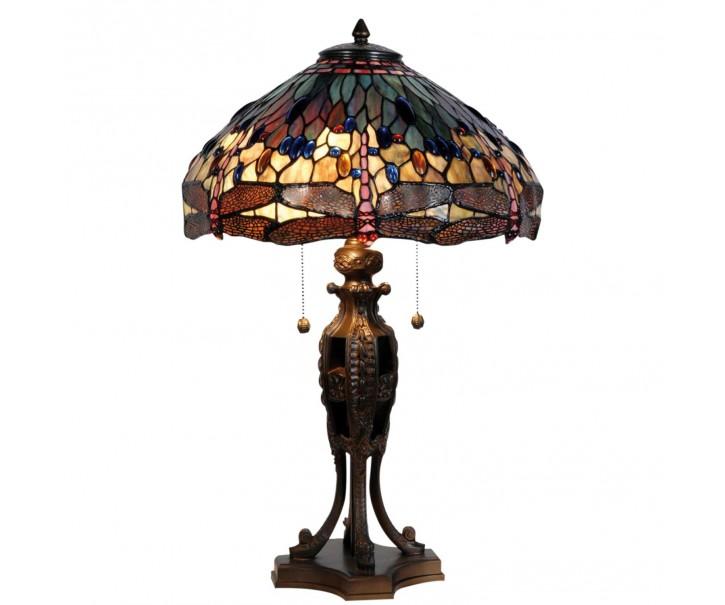 Stoln9 lampa Tiffany Dark dragonfly
