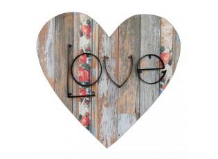Cedule ve tvaru srdce s nápisem LOVE - 52*3*52 cm