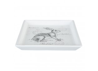 Keramická velikonoční miska s králíkem Rabbit - 15*15*2 cm