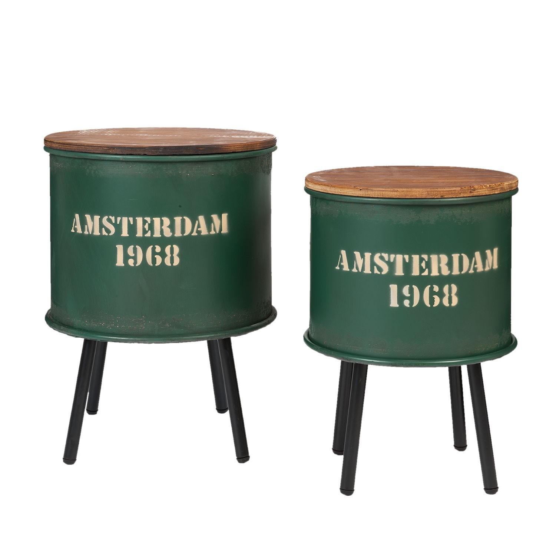 Set odkládacích stolků Amsterdam kulaté zelený