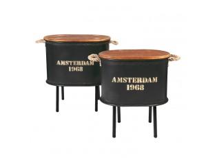 Set odkládacích stolků Amsterdam černé