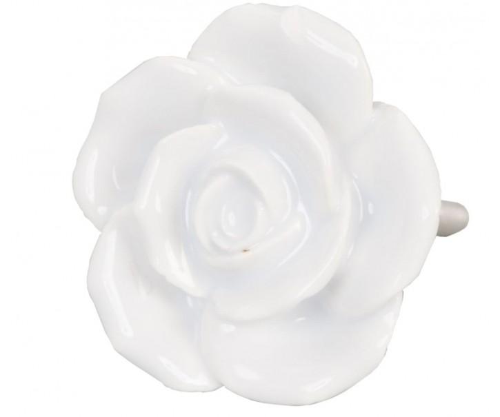 Keramická úchytka Růže bílá - pr 4,5 cm