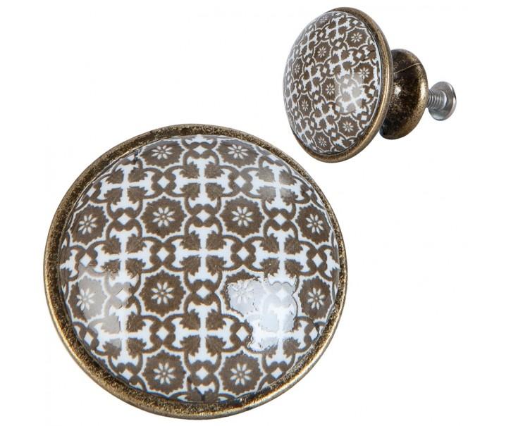 Vintage úchytka s ornamenty - Ø 2 cm