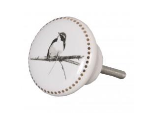 Keramická úchytka s ptáčkem - Ø 4 cm