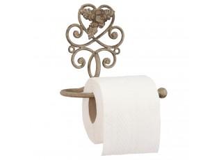 Držák toaletního papíru s kytičkou a šedou patinou - 17*11*15 cm