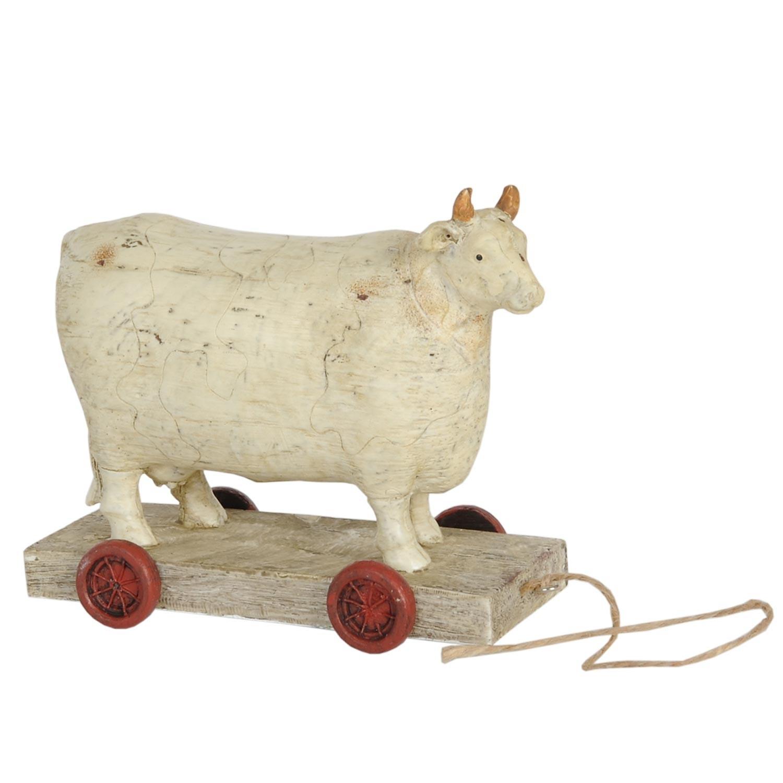 Dekorace kravička na kolečkách - 14*7*12 cm