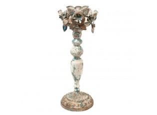 Vintage kovový svícen s patinou - Ø 13*36 cm