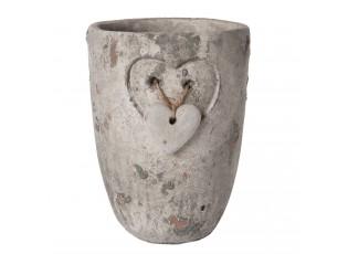 Kamenný květináč se srdíčkem vyskový  - Ø 12*17 cm