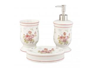 Porcelánový koupelnový set Flowers - Ø 8*12 cm / Ø 8*20 cm / 14*10*3 cm