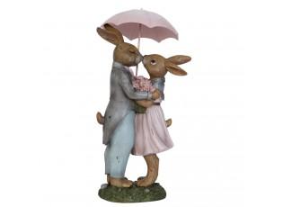 Dekorace králíci pod deštníkem - 17*15*34 cm