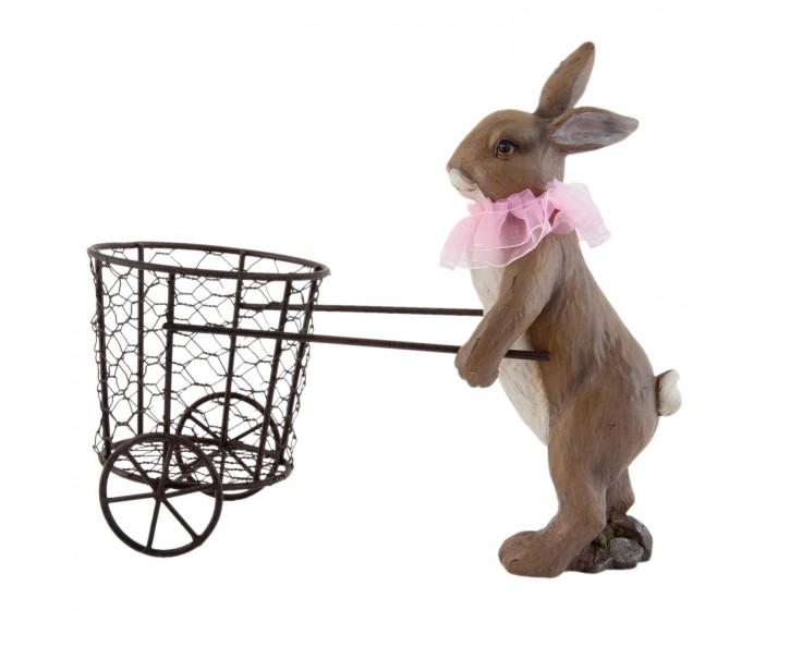 Dekorace  Zajíc s košíčkem - 31*14*26 cm