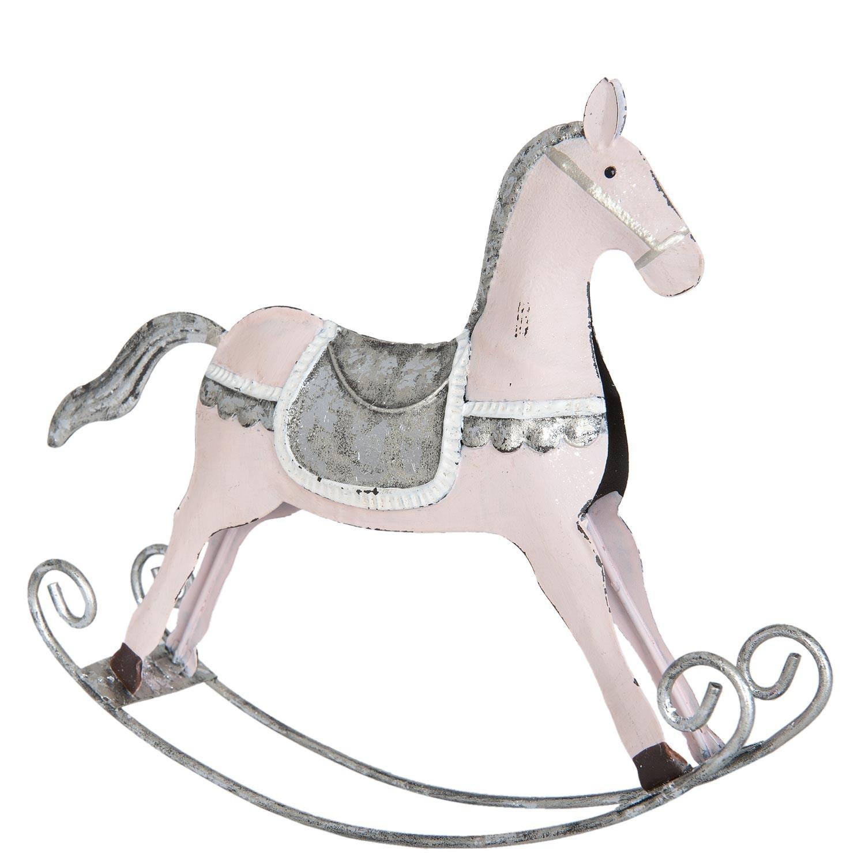 Dekorace houpací koník růžový - 20*4*18 cm