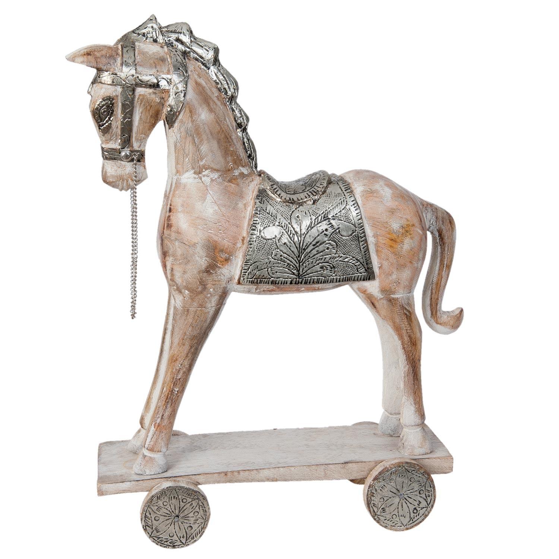 Dekorace dřevěný Kůň na kolečkách - 40*7*45 cm