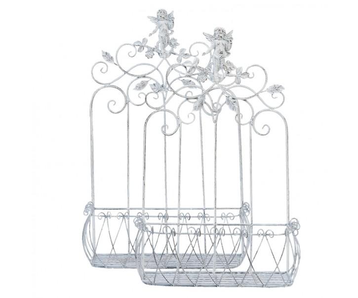 Kovové nástěnné truhlíky, držáky na květiny Angel - 57*25*82/49*22*72 cm