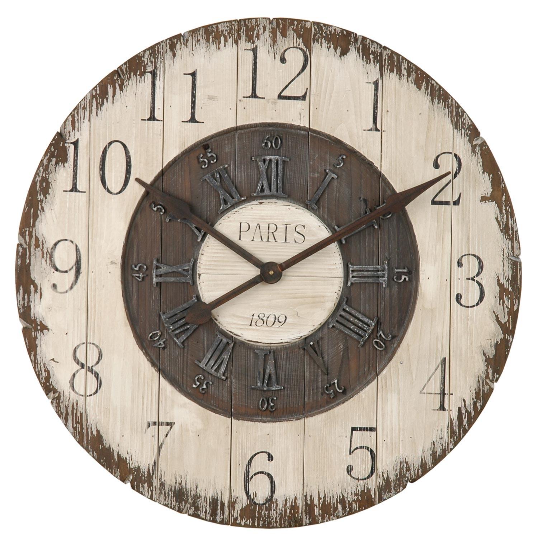 Dřevěné nástěnné hodiny Paris - Ø 80*5 cm / 1xC