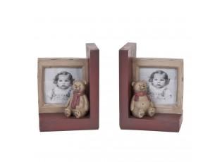 Zarážka na knihy s rámečky na fotografie - 2 x 12 * 11 * 15 cm