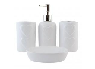 Koupelnový set Srdce - 12*9*3 cm / 2x 0,3 L