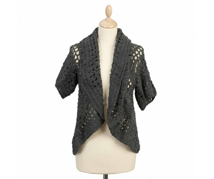 Háčkovaná vesta s rukávkem - 40*73 cm