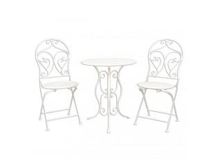 Zahradní skládací souprava - stůl + 2 židle - Ø 60*70 / 2x Ø 40*40*92 cm