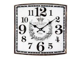 Čtvercové nástěnné hodiny L'Hotel Blanc De Porte - 34*4*34 cm