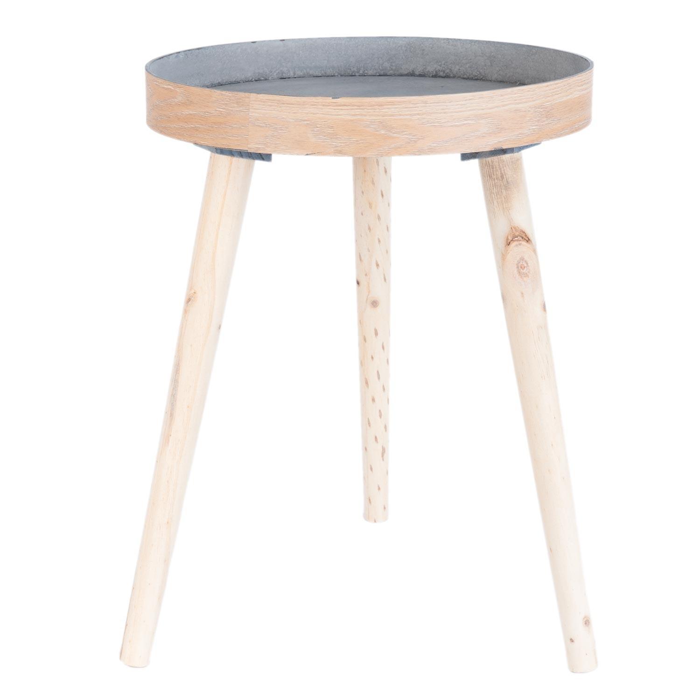 Dřevěný kulatý odkládací stolek - Ø 38*50 cm