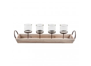 Svícen na 4 čajové svíčky - 61*15*18 cm