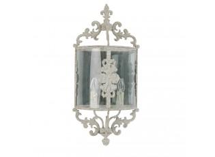Nástěnná kovová lampa se světlou patinou
