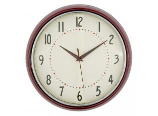 Kulaté retro hodiny ve vínové barvě - Ø 28*8 cm