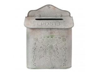 Šedá vintage poštovní schránka - 26*10*35 cm