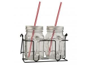 Nádoba na nápoje s brčkem v kovovém držáku - 2ks -  20*11*15 cm