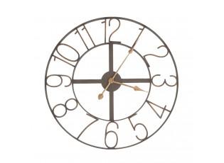 Hnědé kovové hodiny Mentic se zlatými čísly - Ø 60 * 5 cm
