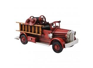 Kovový retro  model hasičské auto - 16*6*7 cm