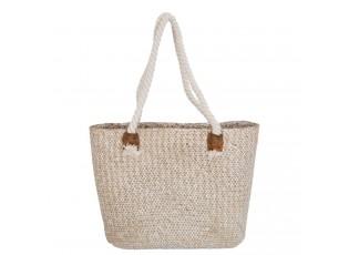Nákupní/plážová taška bílá patina - 40*12*28 cm